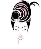 Short hair style icon, logo women face Royalty Free Stock Photos