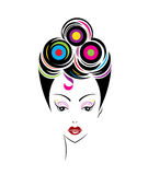 Short hair style icon, logo women face Royalty Free Stock Images