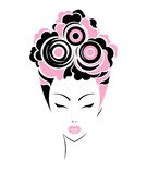 Short hair style icon, logo women face Stock Images