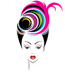 Short hair style icon, logo women face Stock Photo