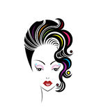 Short hair style icon, logo women face Royalty Free Stock Photo