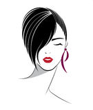 Short hair style icon, logo women face Stock Photos