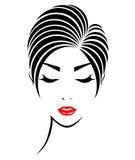 Short hair style icon, logo women face Stock Photos