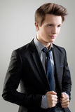 Short Hair Style. Portrait of young man with  brown hair Royalty Free Stock Photography