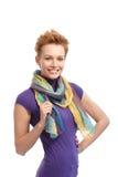Short hair woman in violet top. Short hair gingerish woman smiling in violet top Royalty Free Stock Image