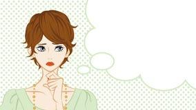 Short Hair Women Suspicion,Speech Bubble Royalty Free Stock Photo