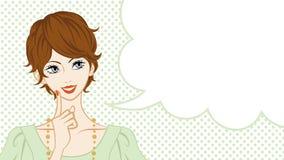 Short Hair women talking, speech bubble Royalty Free Stock Photography