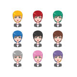 Short haired business woman - 9 different hair colors. ( flat colors Stock Photos