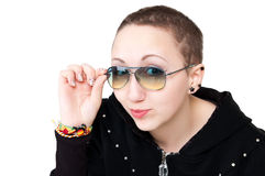 Short-haired girl in glasses Stock Image