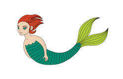 Short haired mermaid. Hand drawn vector illustration of a smiling teenage mermaid swimming in the sea, with short ginger hair and green eyes. Isolated objects on Stock Images