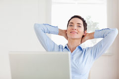 Short-haired relaxed businesswoman Stock Image