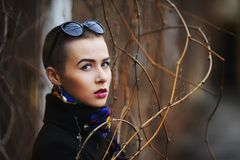 Short-haired woman in a black coat looking seriously among sprigs of spring Stock Image