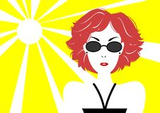 Short haired woman with sunglasses. A beautiful short haired woman wearing sunglasses royalty free illustration