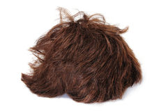 Short heart wig. A brown short heart wig isolated on a white background Stock Images