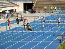 Short Hurdles. WORLD MASTER ATHLETICS CHAMPIONSHIPS Lahti, Finland 28. Jul - 08. Aug 2009 Stock Photo
