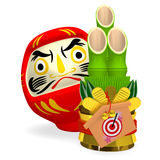 Short Kadomatsu With Daruma Doll Royalty Free Stock Photos