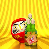 Short Kadomatsu And Daruma Doll With Text Space Front View Stock Images