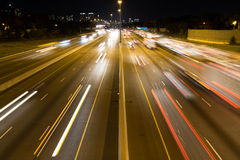 Short Light Trails on a Highway Stock Photography
