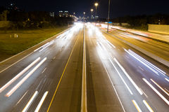 Short Light Trails on a Highway Royalty Free Stock Photo