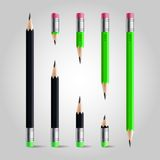Short and long pencil set Stock Photos