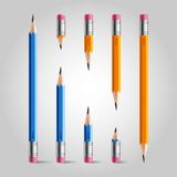 Short and long pencil set Stock Photo