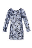 Short navy and blue  sequin dress with floral pattern Royalty Free Stock Image