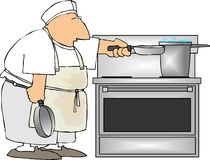 Short order cook. This illustration depicts a cook with frying pans Stock Images