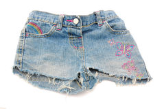 Short denim pants of girl Royalty Free Stock Image