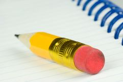 Short pencil with eraser Stock Photography