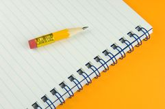 Short pencil on memo Royalty Free Stock Photos