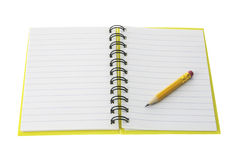 Short Pencil on Open Note Book Royalty Free Stock Images