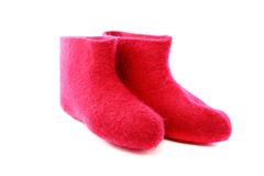 Short pink felt boots. Royalty Free Stock Photo