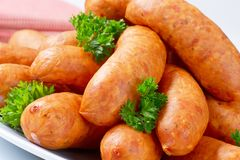 Short pork sausages Royalty Free Stock Photo
