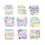 Short possitive messages, inspirational quotes colorful hand drawn vector Illustrations Stock Photos