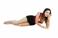 Short preto superior vermelho da mulher americana asiática Imagem de Stock Royalty Free