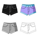 Short purple women`s shorts with a blue rubber band. Shorts for sports in the summer on the street.Women clothing single Stock Images