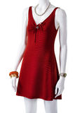 Short red dress with accessories. Royalty Free Stock Images