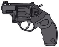 Short revolver. Modern short revolver, vector illustration, hand drawing Royalty Free Illustration