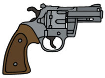 Short revolver. Short silver revolver, vector illustration, hand drawing Royalty Free Illustration