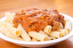 Short rib rigatoni with heirloom tomato Royalty Free Stock Image