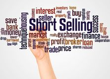 Short Selling word cloud and hand with marker concept. On white background stock images
