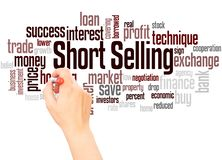 Short Selling word cloud hand writing concept. On white background stock photo