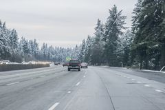Snow on Seattle area residential streets-12 royalty free stock image