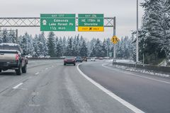 Snow on Seattle area residential streets-14 royalty free stock photo