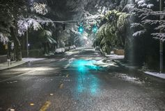 Snow on Seattle area residential streets-20 stock image