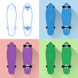 Short skateboards collection. Short skateboards boards collection - flat vector illustration with long shadows Stock Image