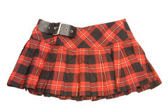 Short skirt. Red rumpled checkered short skirt Royalty Free Stock Photos