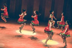 Short skirt dance-Axi jump-Yi folk dance stock photography