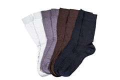 Short socks isolated. Four pairs of black, brown, purple and white short socks isolated on wite background Royalty Free Stock Photography