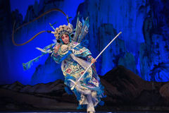 """A short spear used in ancient times- Beijing Opera"""" Women Generals of Yang Family"""". This opera tells a patriotic story how does an old woman of a Stock Photo"""